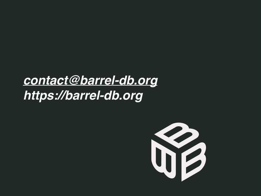 contact@barrel-db.org https://barrel-db.org