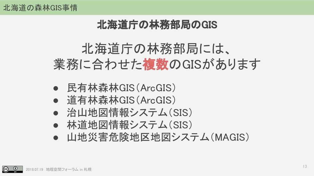 2018.07.19 地理空間フォーラム in 札幌 13 北海道庁の林務部局には、 業務に合...