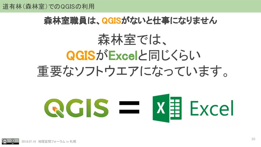 2018.07.19 地理空間フォーラム in 札幌 30 道有林(森林室)でのQGISの利用...