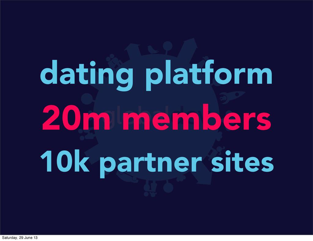 dating platform 20m members 10k partner sites S...