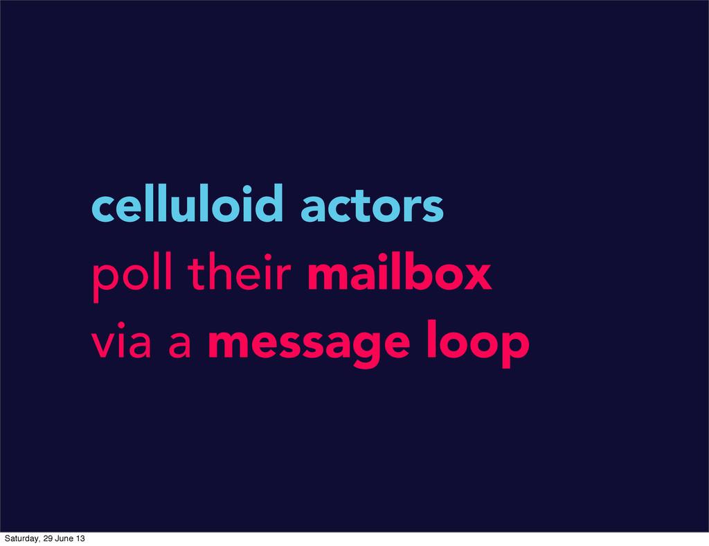 celluloid actors poll their mailbox via a messa...