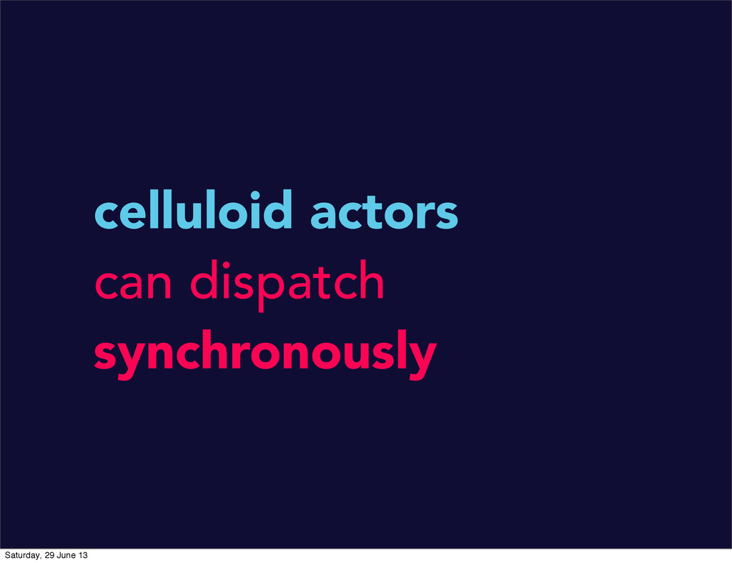 celluloid actors can dispatch synchronously Sat...
