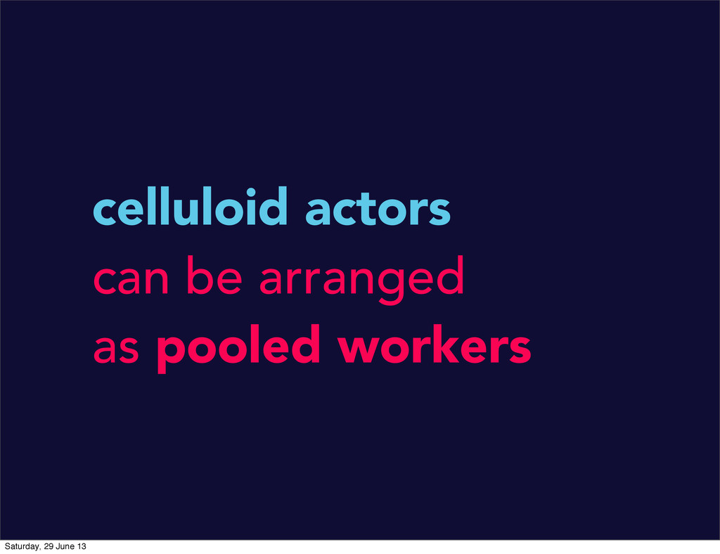 celluloid actors can be arranged as pooled work...