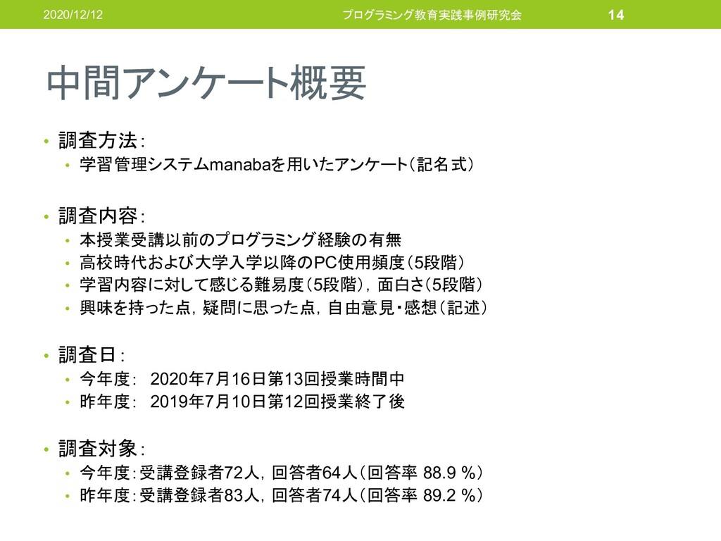 中間アンケート概要 • 調査方法: • 学習管理システムmanabaを用いたアンケート(記名式...