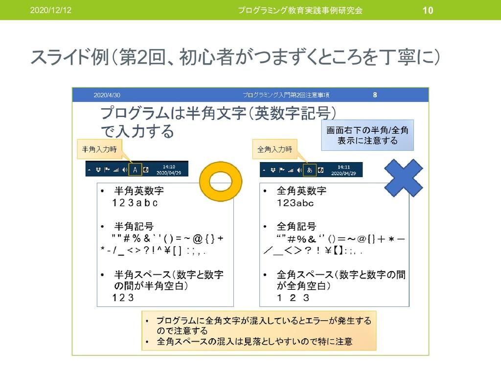 スライド例(第2回、初心者がつまずくところを丁寧に) 2020/12/12 プログラミング教育...