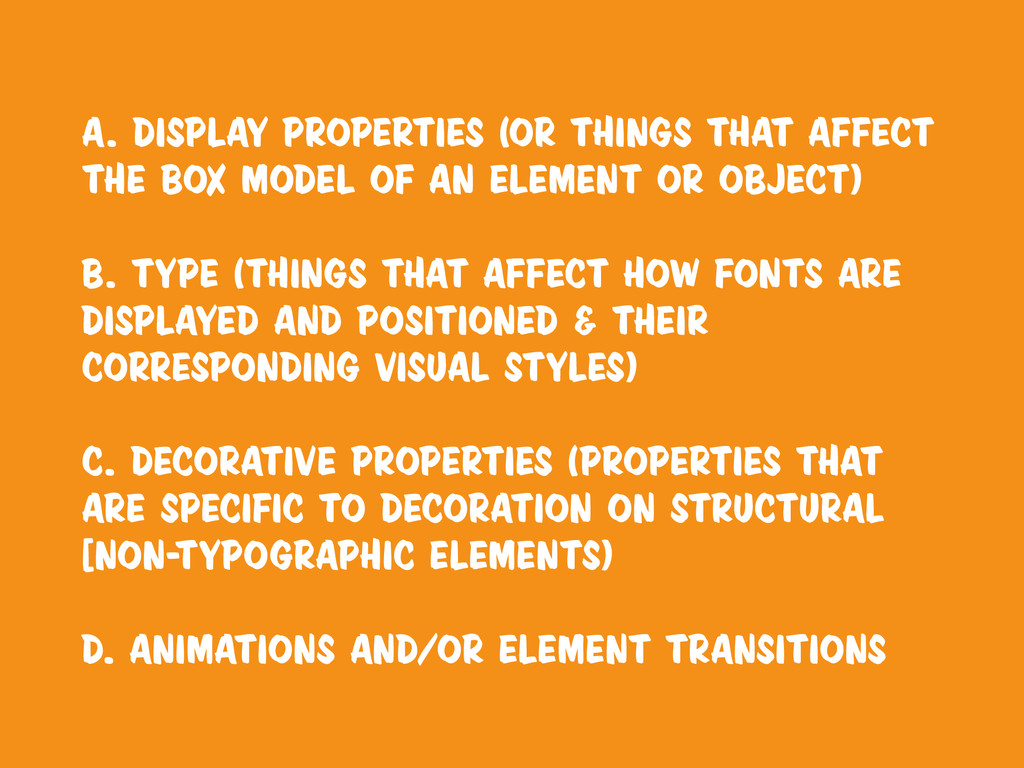 a. Display properties (or things that affect th...