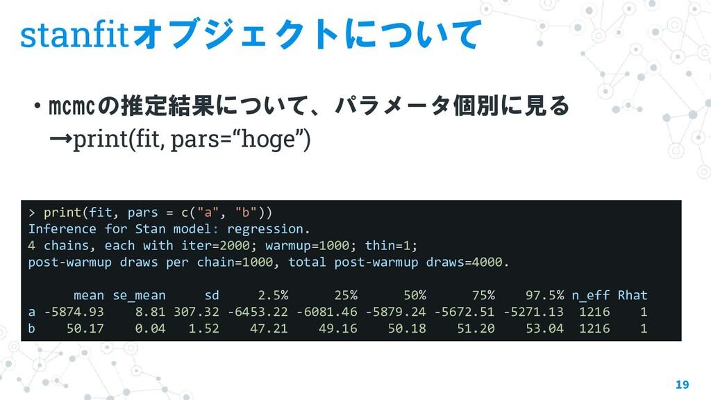 stanfitオブジェクトについて ・mcmcの推定結果について、パラメータ個別に見る →pr...
