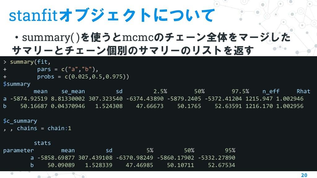 stanfitオブジェクトについて ・summary( )を使うとmcmcのチェーン全体をマー...