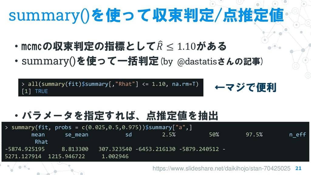 summary()を使って収束判定/点推定値 ・mcmcの収束判定の指標として  𝑅 ≤ 1...