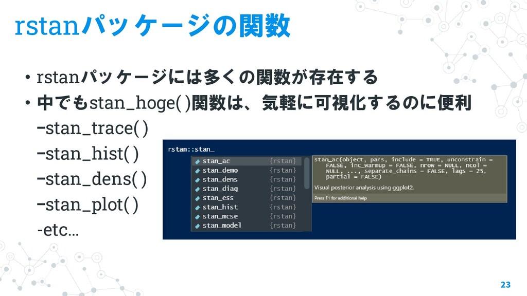 rstanパッケージの関数 ・rstanパッケージには多くの関数が存在する ・中でもstan_...