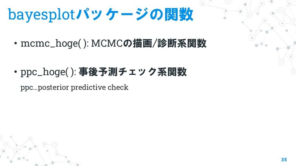 bayesplotパッケージの関数 ・mcmc_hoge( ): MCMCの描画/診断系関数 ...