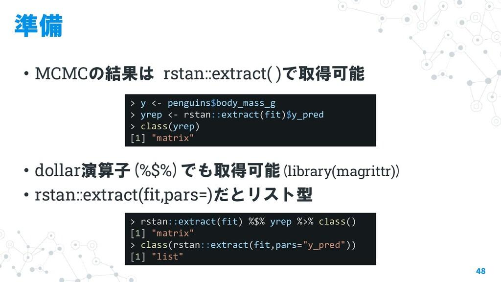 準備 ・MCMCの結果は rstan::extract( )で取得可能 ・dollar演算子(...