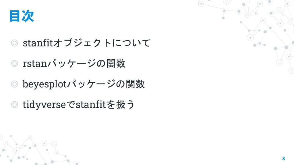 目次 ◎ stanfitオブジェクトについて ◎ rstanパッケージの関数 ◎ beyesp...