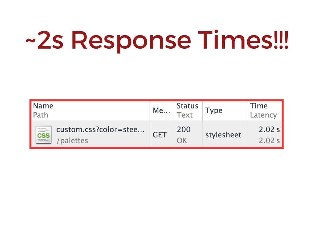 ~2s Response Times!!!