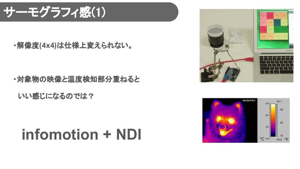 ・解像度(4x4)は仕様上変えられない。 ・対象物の映像と温度検知部分重ねると  いい感じにな...
