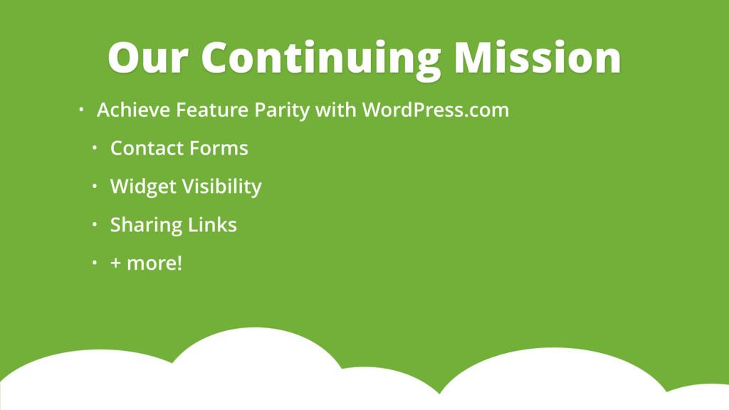 • Achieve Feature Parity with WordPress.com • C...