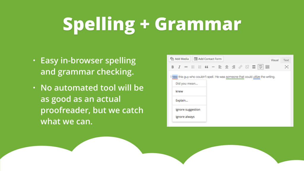 • Easy in-browser spelling and grammar checking...