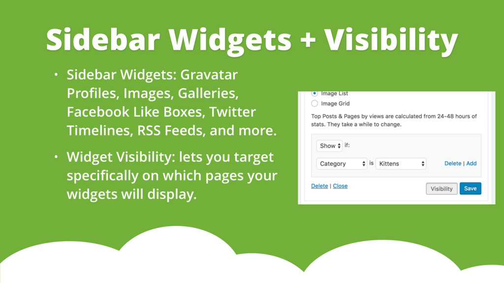 • Sidebar Widgets: Gravatar Profiles, Images, Ga...