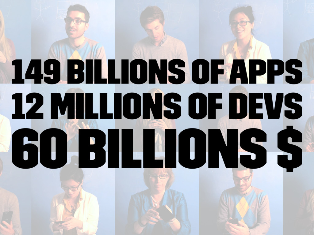 149 billions of apps 12 millions of devs 60 bil...