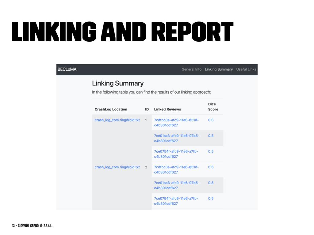Linking and report 13 — Giovanni Grano @ s.e.a....