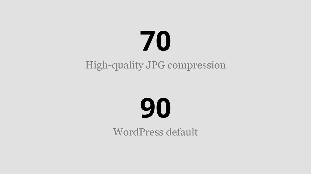 70 High-quality JPG compression 90 WordPress de...