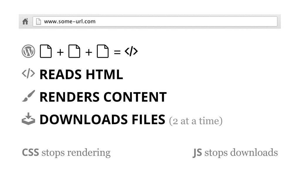 ! & + & + & = ) ) READS HTML * RENDERS CONTENT ...