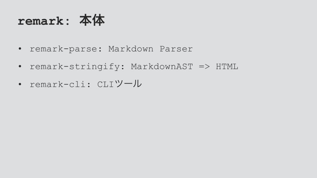 remark: ຊମ • remark-parse: Markdown Parser • re...