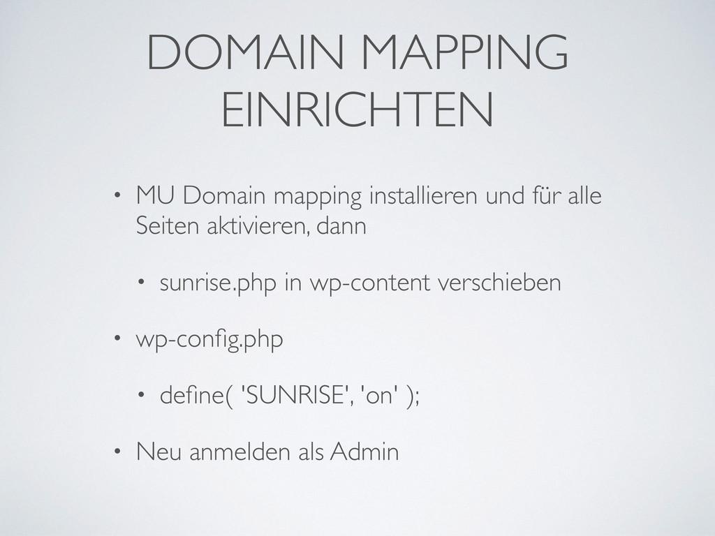 DOMAIN MAPPING EINRICHTEN • MU Domain mapping i...