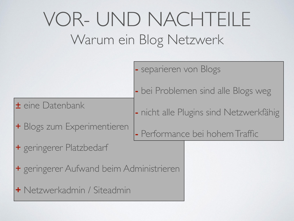 VOR- UND NACHTEILE ± eine Datenbank + Blogs zum...