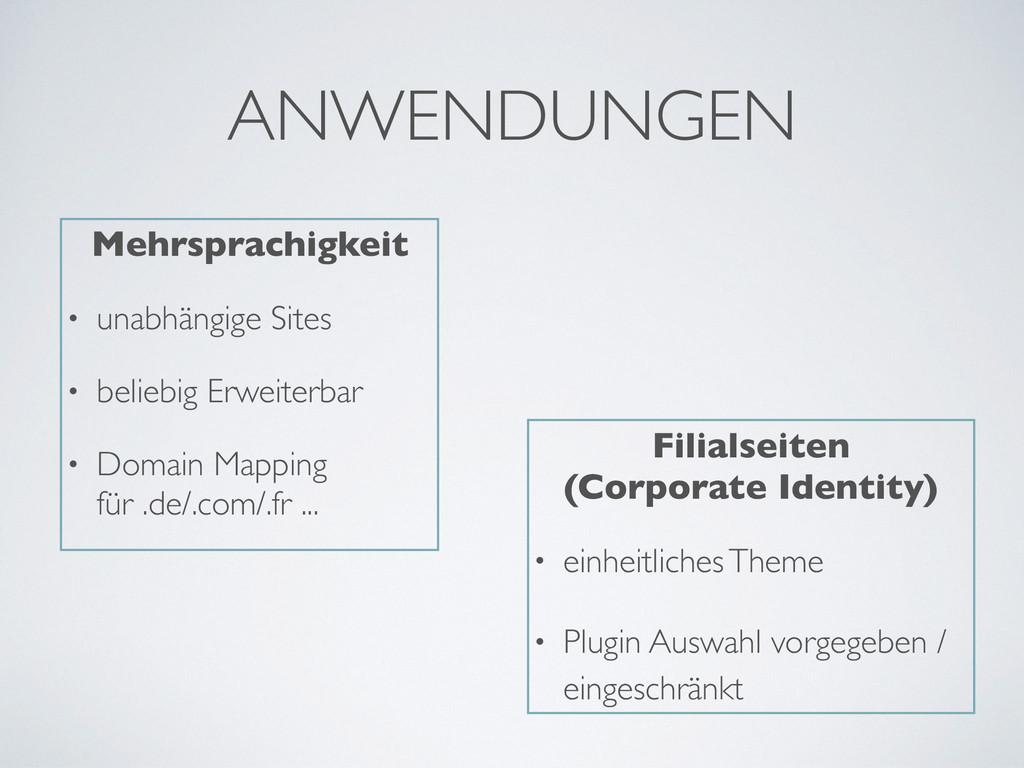 ANWENDUNGEN Mehrsprachigkeit • unabhängige Site...
