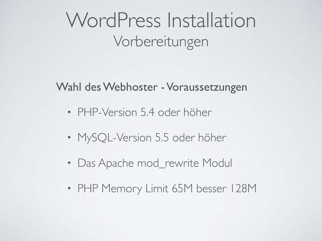 WordPress Installation Wahl des Webhoster - Vor...