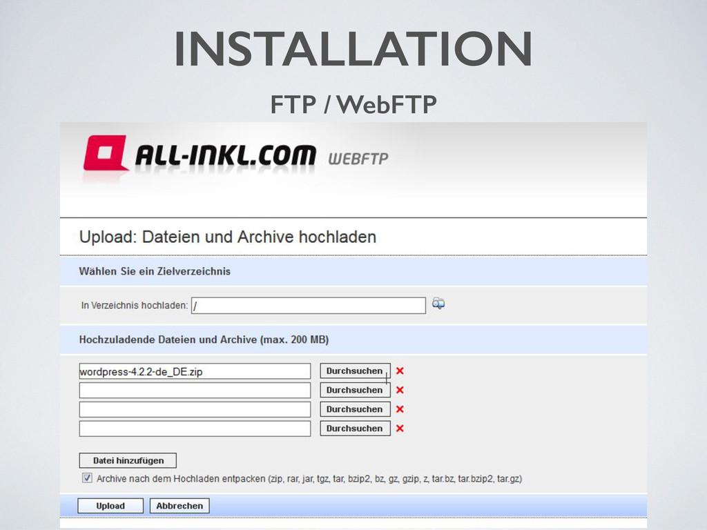 INSTALLATION FTP / WebFTP
