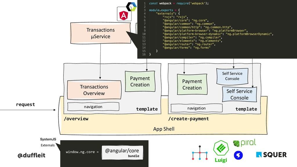 @duffleit App Shell Payment μService Transactio...