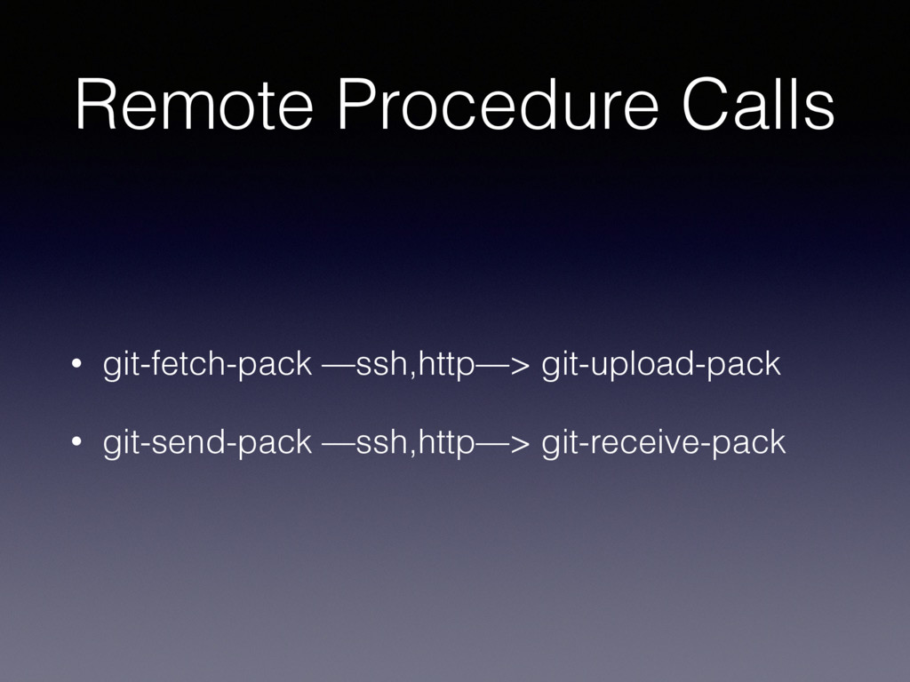 Remote Procedure Calls • git-fetch-pack —ssh,ht...