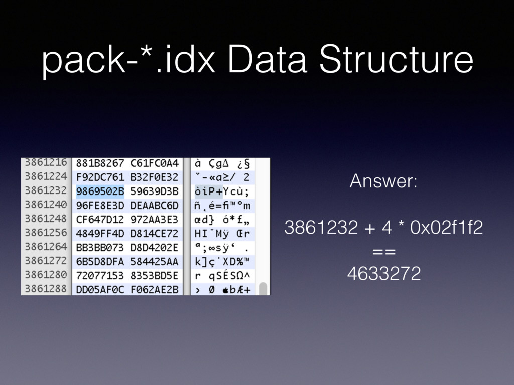 pack-*.idx Data Structure Answer: 3861232 + 4 *...
