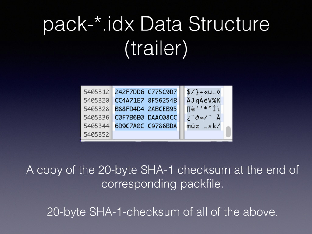 pack-*.idx Data Structure (trailer) A copy of t...