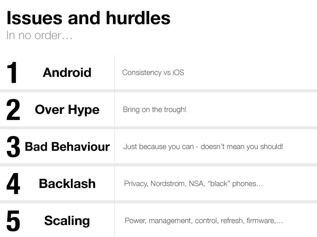 In no order… Issues and hurdles Android Consist...