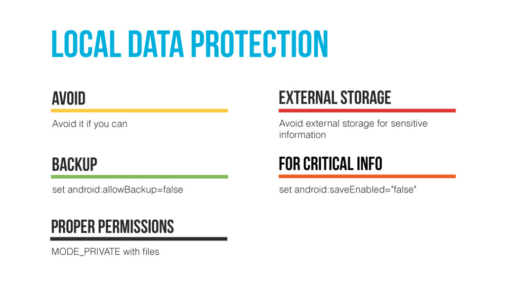 local Data protection Avoid it if you can Avoid...