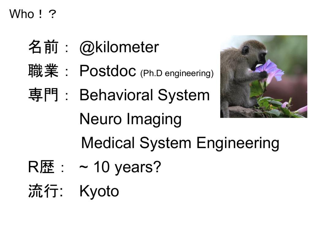 Who   @kilometer  Postdoc (Ph.D engineer...