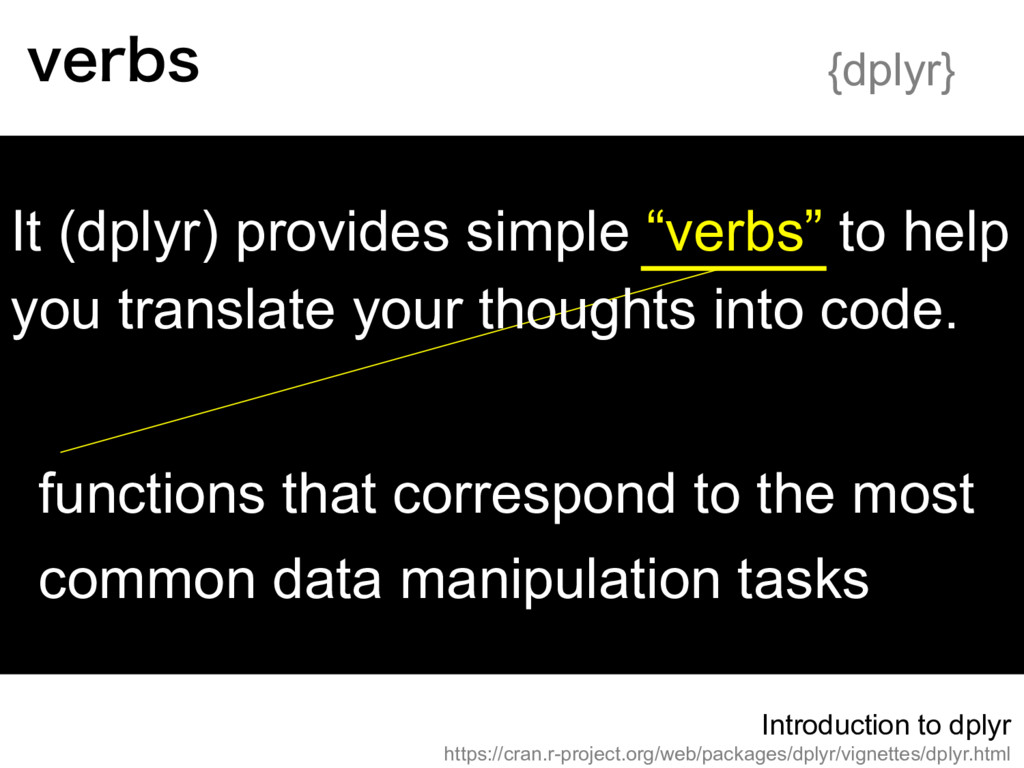 """It (dplyr) provides simple """"verbs"""" to help you ..."""