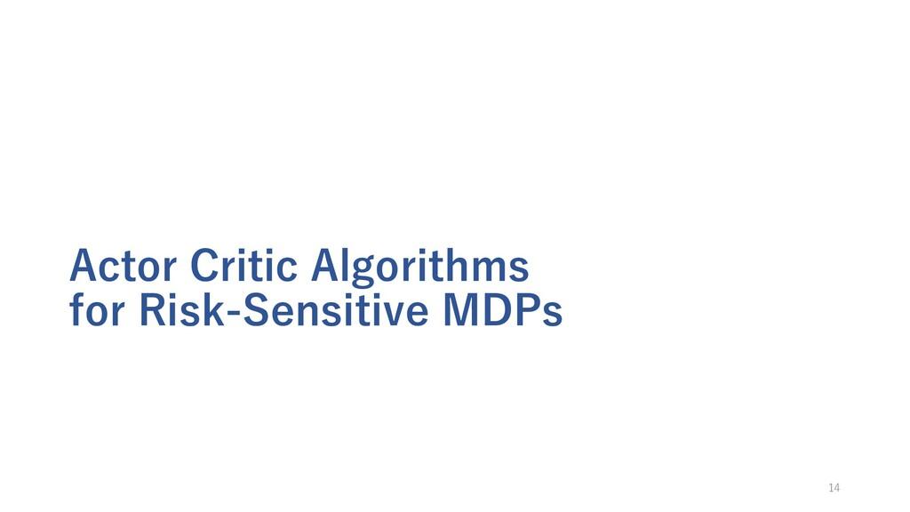 Actor Critic Algorithms for Risk-Sensitive MDPs...