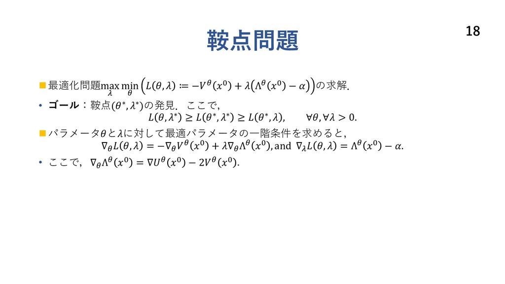 鞍点問題 n 最適化問題max 3 min 2  ,  ≔ −2 ! +  Λ2 ! −  の...