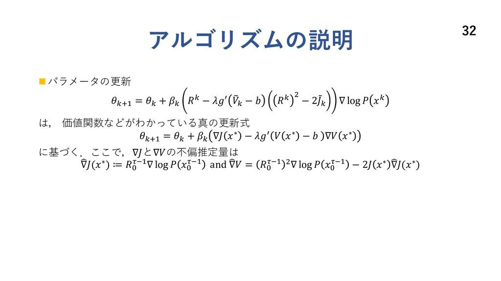 アルゴリズムの説明 n パラメータの更新 E() = E + E E − = ' E −  E...