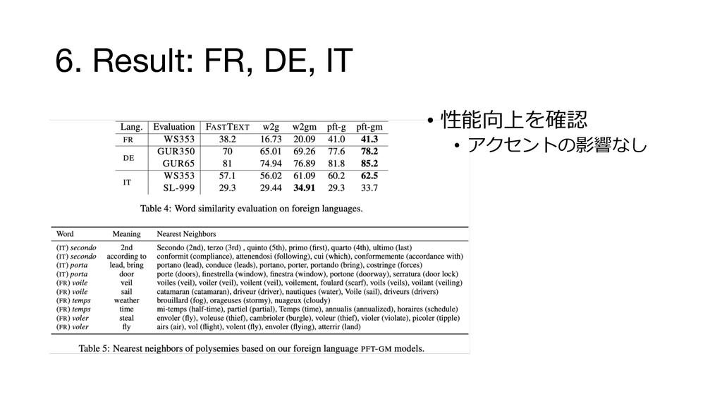 6. Result: FR, DE, IT •   •