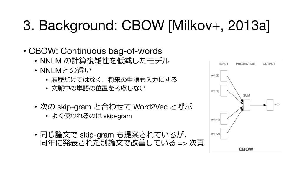 3. Background: CBOW [Milkov+, 2013a] • CBOW: Co...
