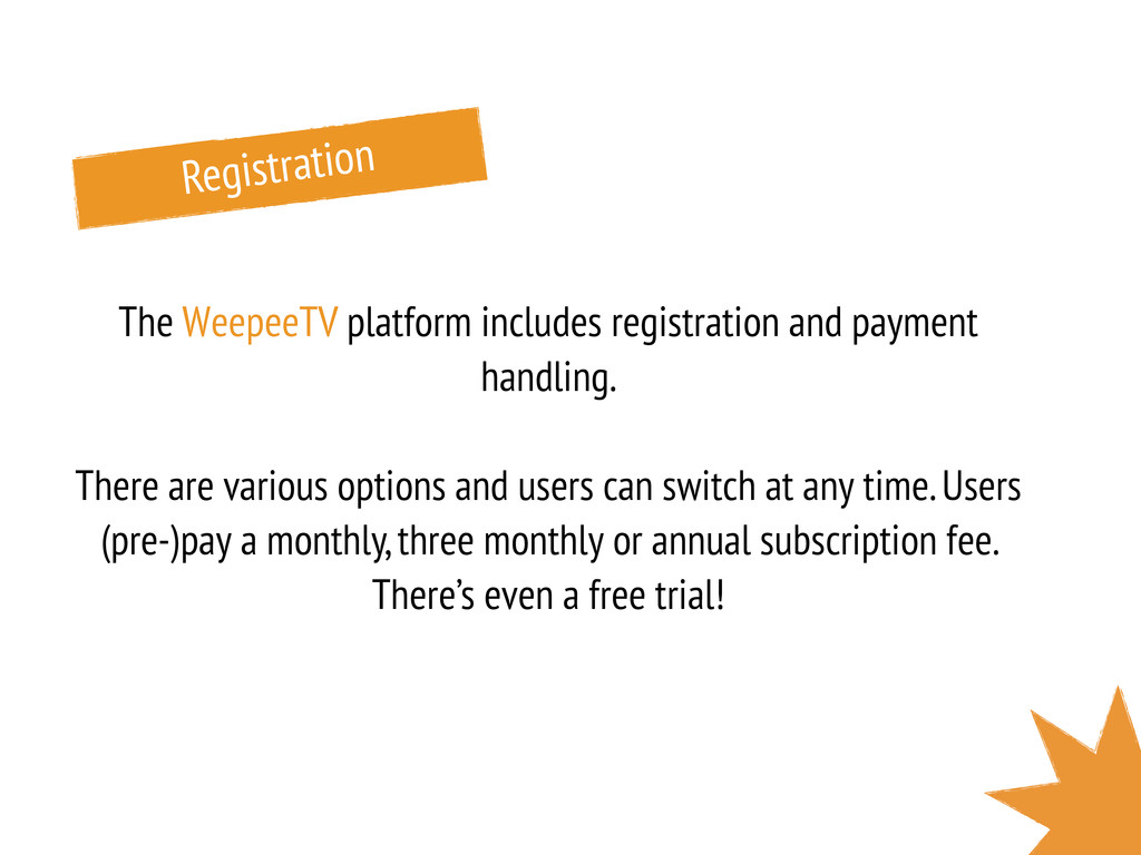 Registration The WeepeeTV platform includes reg...