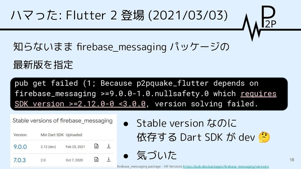 ハマった: Flutter 2 登場 (2021/03/03) 知らないまま firebase_...