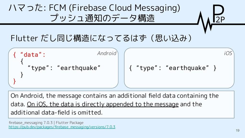 ハマった: FCM (Firebase Cloud Messaging) プッシュ通知のデータ...