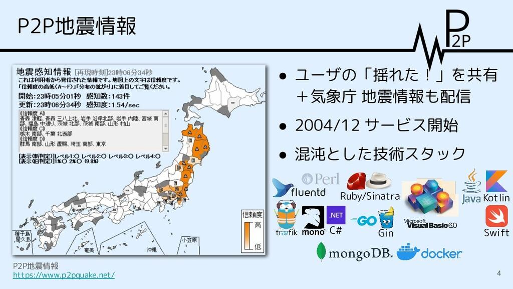 P2P地震情報 ● ユーザの「揺れた!」を共有 +気象庁 地震情報も配信 ● 2004/12 ...