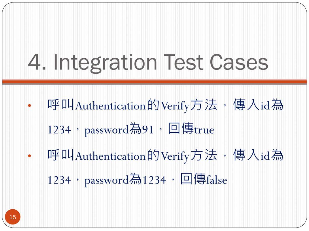 4. Integration Test Cases • 呼叫Authentication的Ve...